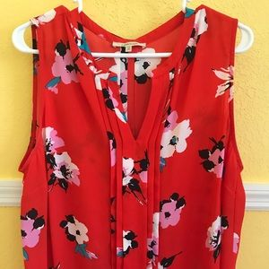 Greyson Pleated Blouse Red Floral NWT 1X